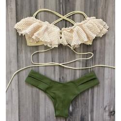 Hot Sexy Swimsuit Swimwear Exquisite Lace Green Triangle Bikini