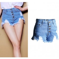 New HoleTassel High Waist More Buttons Denim Shorts Jeans Plus Size Wonmen Shorts