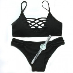 Multi-Pure Sexy Black Rope Bikini Swimsuit Swimwear Bathingsuit
