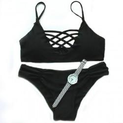 Multi-Pure Sexy Black Rope Bikini Swimsuit Swimwear Bathingsuit