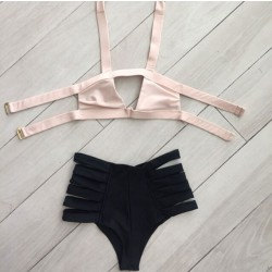 Pink badage Bikini Set Swimwear Beach Swimsuit Bathingsuit For Wonmen