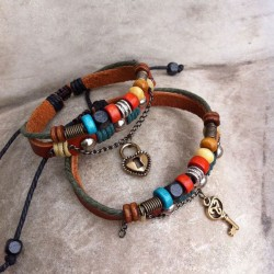Bracelets d'amoureux d'armure en cuir faits à la main