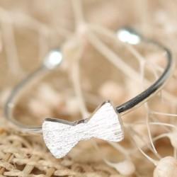 Mignonne Arc Romantique Amour Cœur argent Simple Ouvrir Bague