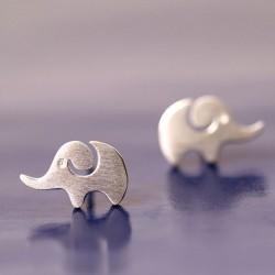 Boucles d'oreilles animaux en forme d'éléphant créatif en argent