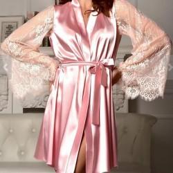 Pyjama de vêtements de nuit en maille sexy avec dentelle et soie à manches longues