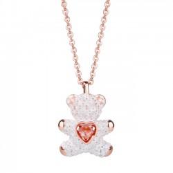 Bijoux de mode coeur rose diamant amoureux cadeau femmes collier ours en peluche pendentif collier en argent