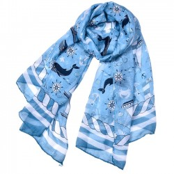 Fashion Thin Sea Anchor Boat Scarf Shawl Lighthouse Whale Women Muslim Scarf