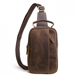 Retro Original Small Cross-body Bag Thick Leather Vintage Men's Shoulder Bag
