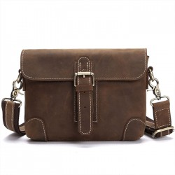Retro Small Messenger Bag Single Buckle Leather Vintage Shoulder Bag