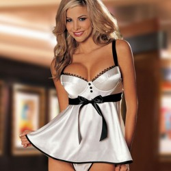 Sexy Silky Pajamas Nightdress Bow Sling Conjoined Lingerie