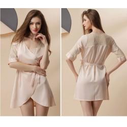 Fashion Gauze Lace Sexy Silk Nightgown