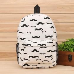 Charmant Dessin animé moustache Animal Imprimé Chouette Toile Sac à dos