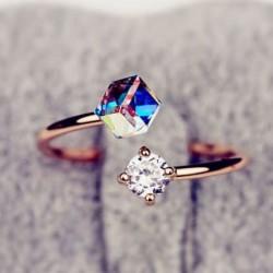 Coloré Zircon Faux Diamant Anneau d'ouverture