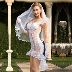 Sexy dentelle blanche tentation maille mariée chemise de nuit en dentelle transparente mariage femmes Lingerie