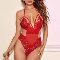 Pyjama à bretelles creuses en dentelle rouge sexy avec lingerie intime pour filles