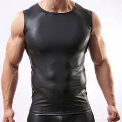 Chemise sexy lingerie pour homme Gilet en cuir verni noir moulant Lingerie intime homme cool
