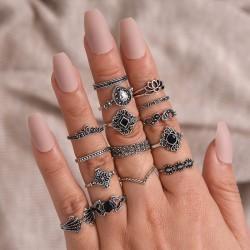 Ensemble de bague de combinaison de couronne de goutte d'eau de diamant creux rétro lotus 15 pièces ensemble bague femme