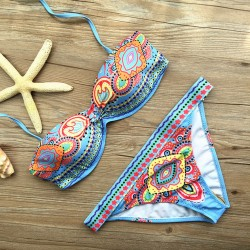 Folk Style Printed Bikini Set Swimwear Swimsuit Bathingsuit