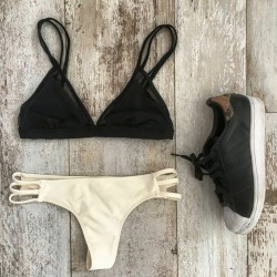 Sexy  Bikini Swimsuit Black And Cream Swimwear Bathingsuit