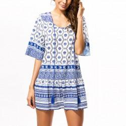 Demi manches en jersey bleu et blanc pour femmes, impression style national