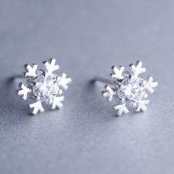 Flocon de neige à la mode bordée de diamants, boucles d'oreilles mignons pour femmes