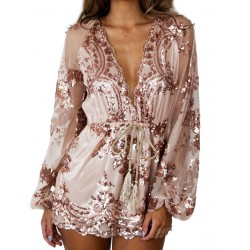 Sexy Glitter Sequin Flower Rose Gold V Neck Long Sleeve Short Dress