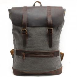 Sac de camping rétro grand sac en cuir véritable épissage toile épaisse sac à dos de randonnée en plein air