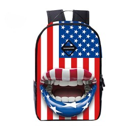 Drapeau américain Big Mouth Backpack Sac à dos de voyage Cartable