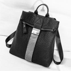 Leisure Crocodile Pattern Flash Drill Stripe Black Large Leather School Backpack