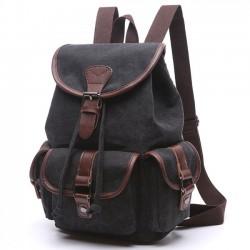 Rétro Draw String Flap School Bag Ceinture Métal Lock Large Toile Voyage Sacs À Dos