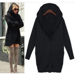 Manteau de veste de laine pure de couleur unie poche poche à manches longues