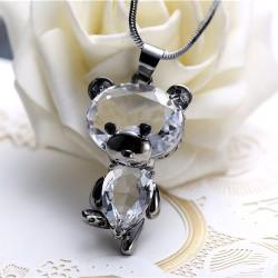 Collier pendentif poupée mignonne avec cristal dansant et collier de chaîne de pull animalier