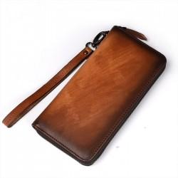 Portefeuille de téléphone à la main rétro en cuir grand sac à main multi-cartes simple embrayage