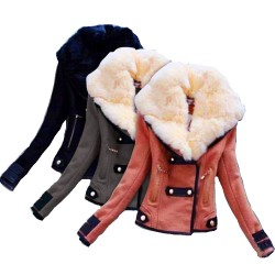Mode Avec Grand Peluche Collier Svelte Court Veste Motard Veste