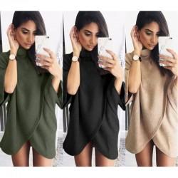 Manteau en tricot à col montant et manches irrégulières pour femme