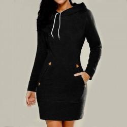 Nouvelles robes à capuchon chandail à manches longues femmes solides à col haut