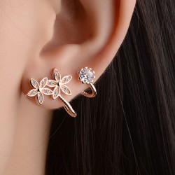 Boucles d'oreilles oreille de diamant de coeur de la mode des femmes de la fleur d'oreille boucles d'oreille