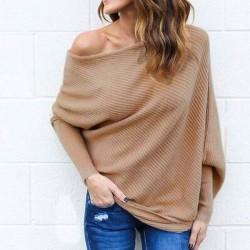 Manteau pull femmes sexy épaule chauve-souris à manches longues