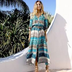 Robe mi-longue à manches bohémiennes ajustables pour femmes