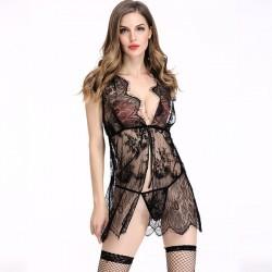 Sexy Voir à travers la robe de couture en dentelle vêtements de nuit