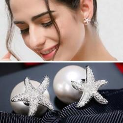 Boucles d'oreilles boucles d'oreilles mignonnes en argent avec cristal, bordées de diamants et de diamants, ornées de diamants