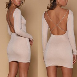 Sexy Long-sleeved Backless Nightclub Slim-fit Sequin Short Dress