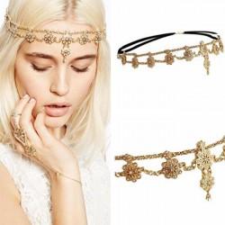Fashion Strass Bandeau Bandeau Chaîne De Cheveux Perle Fleur Accessoires De Cheveux