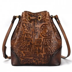Retro Ancient Script Oracle Embossing Messenger Bag Tassel Cowhide Vintage Shoulder Bag