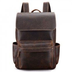 Retro Handmade Bag Original Thick Leather British Style Men School Backpack