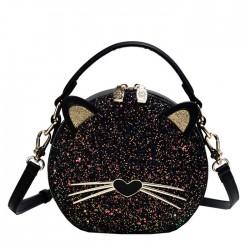 Charmant Chaton Dame de chat noir à paillettes Sac d'épaule Sac seau
