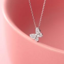 Mignon cadeau romantique bijoux animaux mini pendentif papillon collier en argent 925