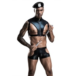 Sexy Hot Erotic PU Leather Sets Porno Men's Costumes Lingerie Police Uniform Slim Kit Cops Cosplay Lingerie