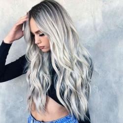 Mode gris dégradé séparé moyen long perruque de cosplay perruque de cheveux bouclés ondulés