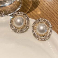 Boucles d'oreilles de qualité AAA rondes en cristal de perles de mode pour femmes